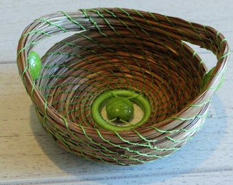 Green Basket Green Pine Needle Basket Green Pine Needle Coiled Basket Basket For Him Basket For Her Native American Pine Needle Basketry