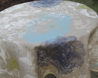 "52"" diameter round tablecloth.Linen oilcloth.Fabric from Provence France. Blue poenies"