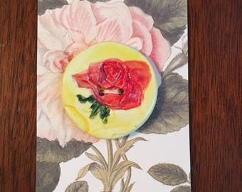 Handmade Ceramic Button With A Rose Design
