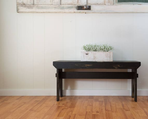 Farmhouse Bench Black Distressed Bench Primitive Rustic