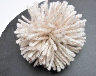 Big Cream Wool Mix Pompom 100mm, 3.94 inches Wool And Acrylic Yarn