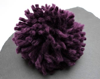 Giant Purple Pompom 130mm, 5.18 inches  Made From Chunky Wool Yarn