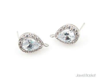 Teardrop Cubic Earrings in Rhodium with 12 Sub-Cubic Zirconia - Small / Wedding Earrings / Bridesmaid / 9.6mm x 14.6mm / CRH064-E (2pcs)