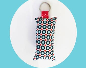 Keychain fabric red and black Hexagon geometric patterns
