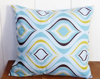 VINTAGE 40 x 40 cm fabric pillow cover retro geometric blue and yellow