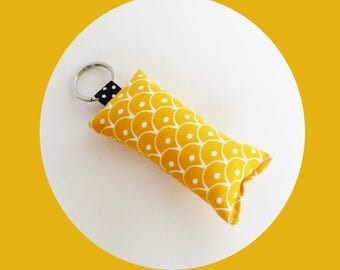 Yellow scales fabric key fob