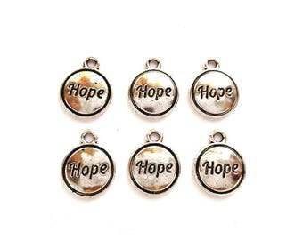 6 Antique Silver Hope Message Charms - 22-3-10