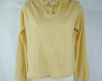 Vintage Queen's-Way To Fashion Long Sleeved Beige Micro Floral Top Peter Pan Collar