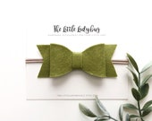 Headband or Clip Felt Hair Bow for Newborn, Baby, Toddler, Girls | Sage Green Hair Bow  | Three Sizes Available | Ready to Ship