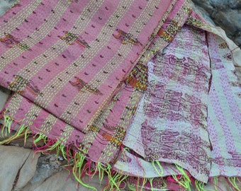 Silk Kantha shawl throw pink horse Indian paisley print bohemian patterned natural handmade hand stitched vintage ethnic mid season