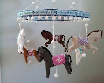 Carousel Horse Baby Mobile colorful boho