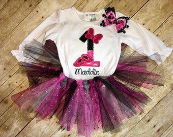 Pink and Black Minnie Mouse Inspired Birthday Outfit with Tulle Tutu and Hairbow