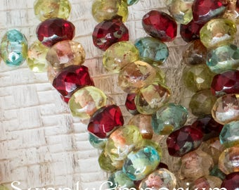 5x3mm Rondelle Mix, 30 Beads, Green Amber White Picasso Mix Rondelle Beads, 1644, Jewel Tone Rondelle Beads