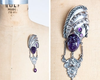 RARE Signed Vintage 1940s Horatio de la PARRA Pre-Columbian God Sterling Silver Brooch with Carved Amethyst Face & Accents // Pre-Eagle //