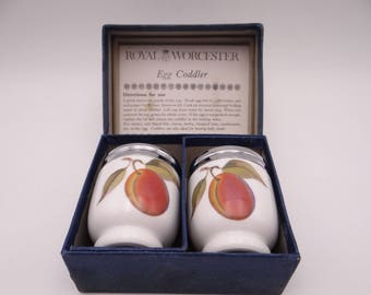"""Vintage Pair Standard Size Royal Worcester Egg Coddler """" Evesham"""" Plums in Original Box"""