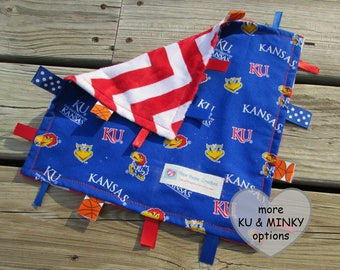 Tag Blanket, KU Jayhawks Lovie, Sensory Toy, Sports Nursery Decor, Baby Shower Gift, Ribbon Tags, Crinkle, Personalized, Kansas U, Blue Red