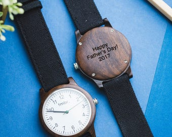 Wood Watch For Man | Personalized Wood Watch | Men's Wood Watch Customized, Canvas Strap