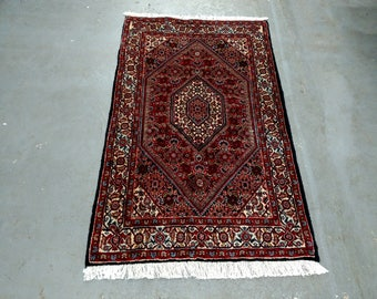 1980s Vintage Hand-Knotted Bijar Persian Rug (3670)