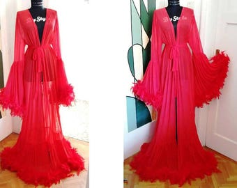 Red Tulle Feathers Robe Burlesque Feathers Dressing Gown Red Dressing Gown Stage Dress