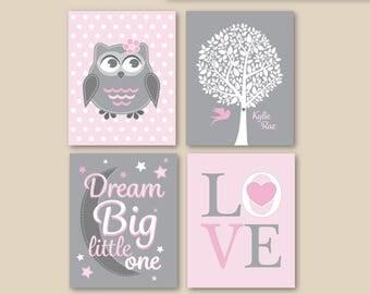 Baby Girl Pink Grey Nursery Owl Dream Big Little One Personalized Art // Soft Pink, Gray, Print Set of (4) - 5x7, 8x10, 11x14 Unframed