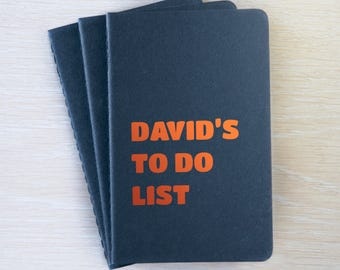 Personalised To Do Notebook A6 - To do list book, Plain Black & Copper personalised notebook pocket cahier journal reminders shopping