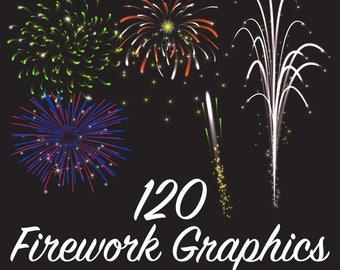 120 Fireworks Graphics, Vector Art