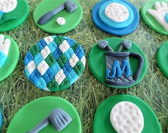 12 Fondant Edible Cupcake/Cookie Toppers - Golf Theme, fondant golf cupcake toppers, edible golf, golf gloves, argyle, golf balls, sport