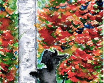 Scottie Dog 'Any Squirrels?' Canvas Art Print A4