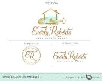 Set of 3 Logos, Real Estate Branding Kit, Real Estate Agency Logo, Branding Package Premade Logo, Realtor Logo, Broker Logo, House Logo