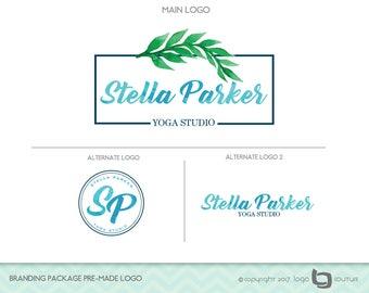 Yoga Studio Logo Design, Branding Package Premade Logo, Set of 3 Logos, Pilates Logo, Green Leaf Logo, Fitness Logo, Health Logo