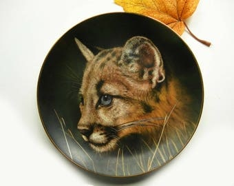 Cougar Cub Collector Plate, Cubs of the Big Cats Limited Edition #830 Princeton Galleries, Collectible Plate
