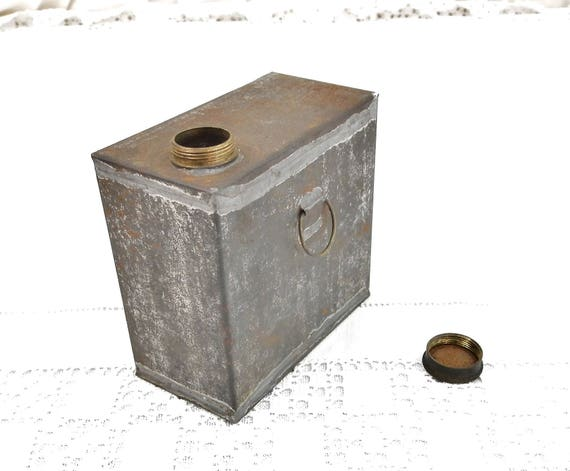 Antique Square Metal Bottle With Screw Lid, Rectangular Tin Container for Liquids, French Brocante Home Decor, Industrial Curios from France