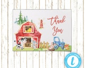 Barnyard Farm Animals Thank You Cards | Printable PDF or JPEG | Templett | BSI124TY