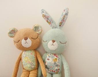 OOAK Liberty of London Bunny Plush - Home Decor - Bunny Collection - Bunny plushie - Softoy - Stuffed Animals - Nusery Decor - Ready to Ship