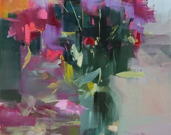 Abstract Art Canvas Painting Vertical Art, Modern Floral Painting, Flowers in Vase Original Stretched Canvas