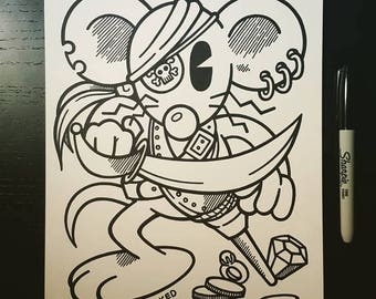 Sharpie Sketch Drawing -  Happy Happy Pirate Rat