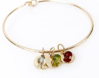 Mother's Charm Bracelet / 14k Gold Filled Heirloom Bangle Bracelet for Wife, Mom, Daughter, Sister / Sterling Silver Mother's Jewelry