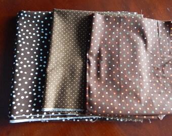 Destash Cotton Fabric - Brown Polka Dots