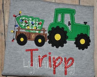 Christmas Tractor with Tree Monogram shirt