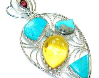 Amber, Turquoise, Garnet, Blue Topaz Sterling Silver Pendant - weight 22.00g - dim L- 3 1 8, W- 1 5 8, T- 3 8 inch - code 19-sty-15-8