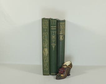 Shabby Chic Green Antique Books  - Home Decor - Office Decor - Green and Gold