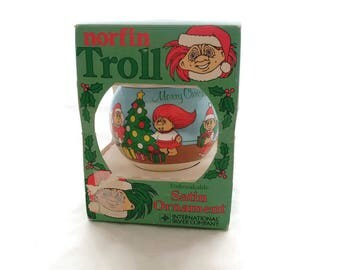 Vintage Satin TROLL Ornament Christmas Ball International Silver Company