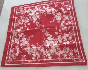 Poly Cotton Bandana Scarf Kerchief or Table Topper Red & White 20.5 x 21 Inches