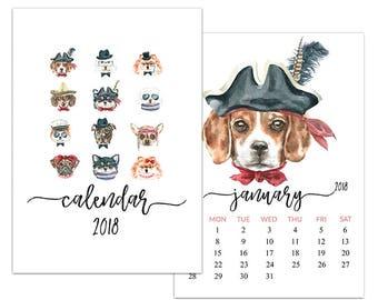 "C7 :. 5""x7"" 2018 Calendar Template | Cute dogs"