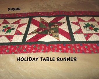PATCHWORK,  TABLE RUNNER,  Holiday Decor, Christmas,  Table Décor, Quilt, Machine Embroidery, Gifts for Women, Hostess Gift