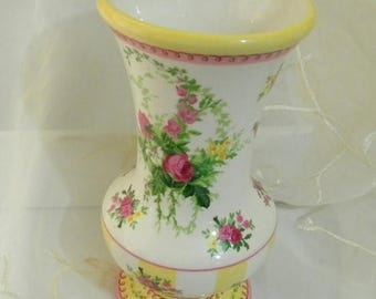 Summer Sale Beautiful Laura Ashley for FTD Ceramic Vase, Yellow Stripes, Pink Roses, Great for Floral Arrangements or Home Decor