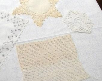 Summer Sale Vintage Linens Grab Bag, Doilies, Hankies, etc.