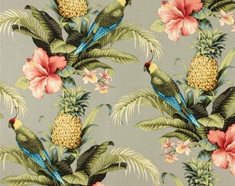 Indoor Outdoor Polyester Spun Woven Fabric, Pineapple Repeat or Beach Bounty Tangelo  Repeat 1 Yard each