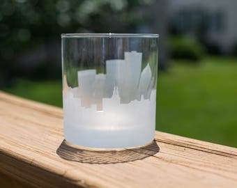 Rochester, New York Skyline Silhouette Outline Whiskey Rocks Glasses