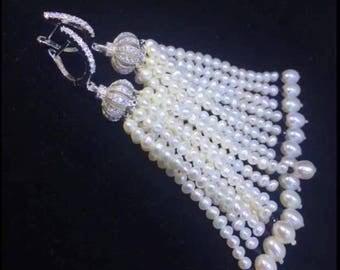 Long white freshwater pearl tassel earrings - Special Occasion Statement Earrings- Wedding Earrings